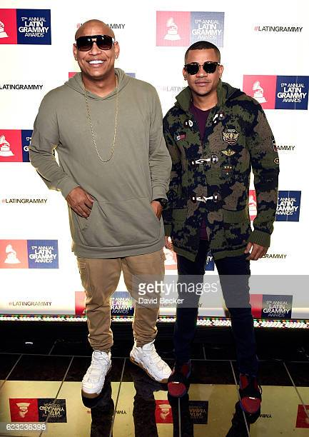 Alexander Delgado and Randy Malcom of Gente De Zona attend the gift lounge during the 17th annual Latin Grammy Awards at TMobile Arena on November 14...