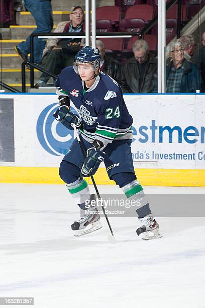 Alexander Delnov of the Seattle Thunderbirds skates on the ice at the Kelowna Rockets on February 28 2013 at Prospera Place in Kelowna British...