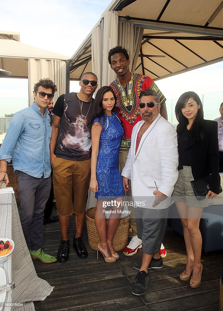 Alexander DiPersia, Russell Westbrook, Genesis Rodriguez, Hasheem Thabeet, Luis Barajas, and Aimee Garcia attend Flaunt Magazine and Samsung Galaxy celebrate The Plutocracy Issue release hosted by cover Russell Westbrook at Caulfield's Bar and Dining Room at Thompson Hotel on March 2, 2013 in Beverly Hills, California.