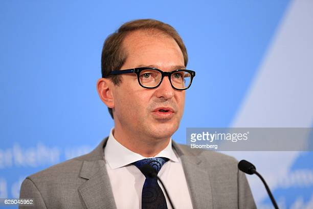 Alexander Dobrindt Germany's transport minister speaks during a news conference at the Federal Ministry of Transport and Digital Infrastructure in...