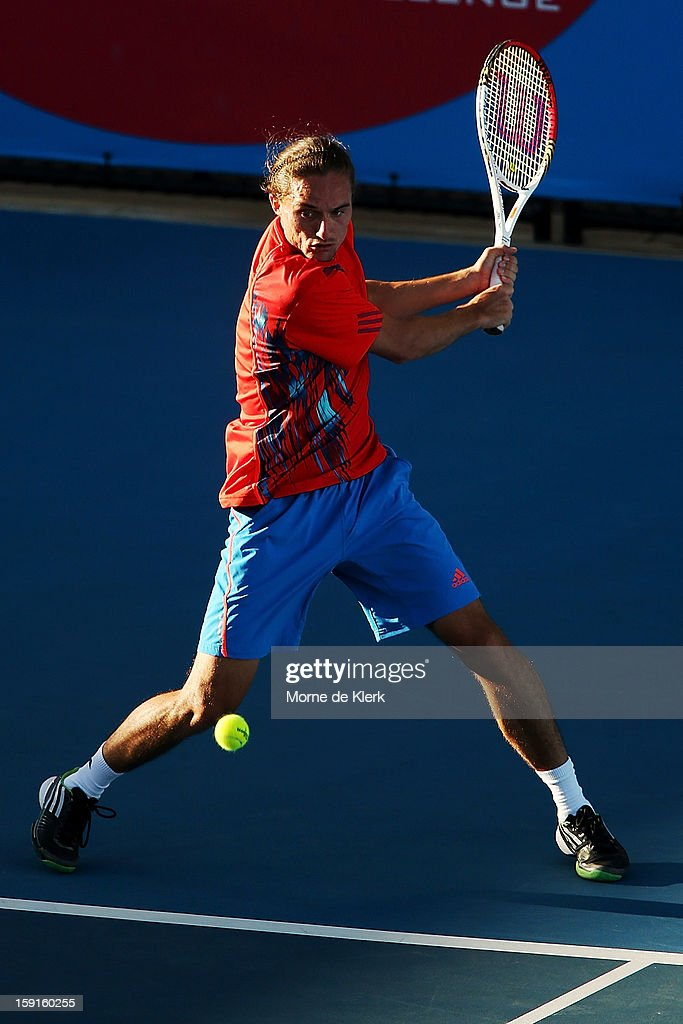 Alexander Dolgopolov of the Ukraine competes during the World Tennis Challenge at Memorial Drive on January 9, 2013 in Adelaide, Australia.
