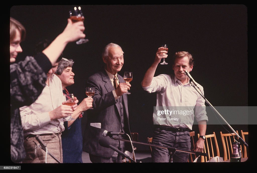 Alexander Dubcek and <a gi-track='captionPersonalityLinkClicked' href=/galleries/search?phrase=Vaclav+Havel&family=editorial&specificpeople=202931 ng-click='$event.stopPropagation()'>Vaclav Havel</a> are joined by other Czechoslovakian politicians as they toast the resignation of the Communist politburo in November 1989 at Sparta Stadium in Prague, Czechoslovakia.