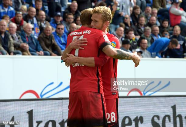Alexander Esswein and Fabian Lustenberger of Hertha BSC celebrate after scoring the 11 during the game between TSG Hoffenheim and Hertha BSC on...