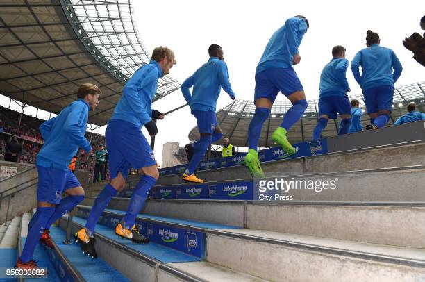 Alexander Esswein Fabian Lustenberger Salomon Kalou and Niklas Stark of Hertha BSC before the game between Hertha BSC and FC Bayern Muenchen on...