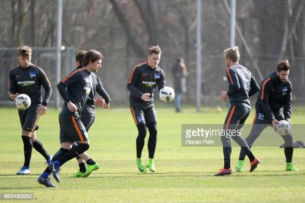 Alexander Esswein Genki Haraguchi Valentin Stocker Maximilian Mittelstaedt Per Skjelbred and Marvin Plattenhardt of Hertha BSC during the training on...
