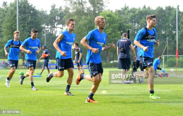 Alexander Esswein Mathew Leckie Sebastian Langkamp Fabian Lustenberger and Florian Baak of Hertha BSC during the dritten Tages the traininglagers of...