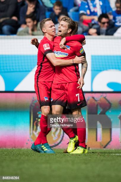 Alexander Esswein of Berlin celebrates his team's first goal with his team mates during the Bundesliga match between TSG 1899 Hoffenheim and Hertha...