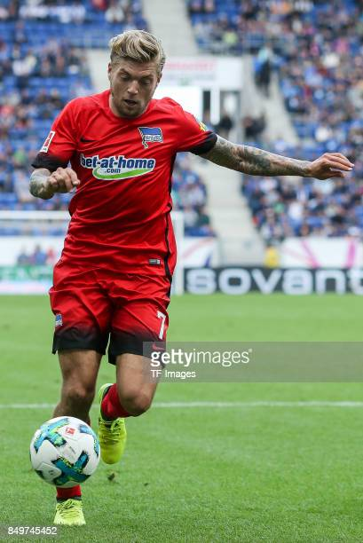Alexander Esswein of Berlin controls the ball during the Bundesliga match between TSG 1899 Hoffenheim and Hertha BSC at Wirsol RheinNeckarArena on...