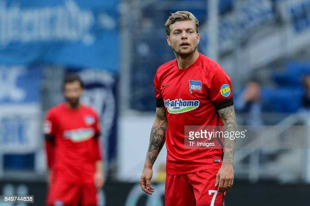 Alexander Esswein of Berlin looks on during the Bundesliga match between TSG 1899 Hoffenheim and Hertha BSC at Wirsol RheinNeckarArena on September...