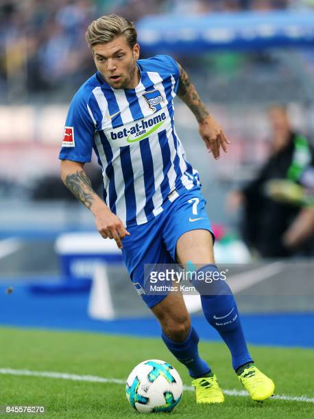Alexander Esswein of Berlin runs with the ball during the Bundesliga match between Hertha BSC and SV Werder Bremen at Olympiastadion on September 10...