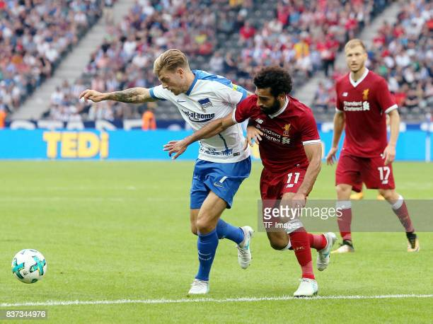 Alexander Esswein of Hertha and Mohamed Salah of Liverpool battle for the ball during the Preseason Friendly match between Hertha BSC and FC...