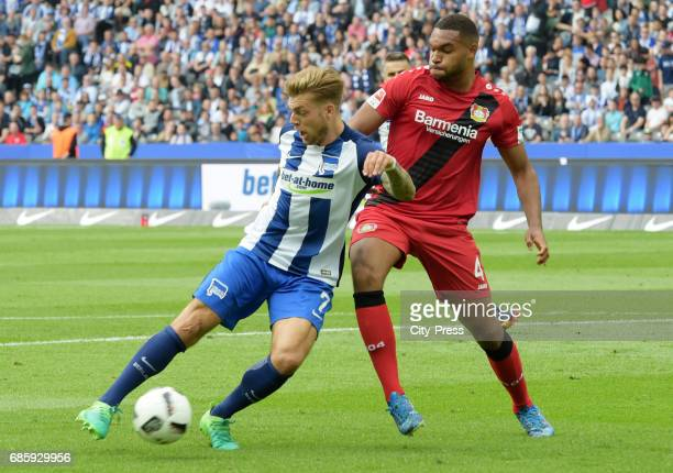 Alexander Esswein of Hertha BSC and Jonathan Tah of Bayer 04 Leverkusen during the game between Hertha BSC and Bayer 04 Leverkusen on may 20 2017 in...