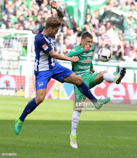 Alexander Esswein of Hertha BSC and Maximilian Eggestein of Werder Bremen during the game between Werder Bremen and Hertha BSC on april 29 2017 in...