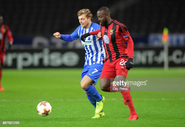 Alexander Esswein of Hertha BSC and Ronald Mukiibi of Oestersunds FK during the Uefa Europa League Group J match between Hertha BSC and Oestersunds...