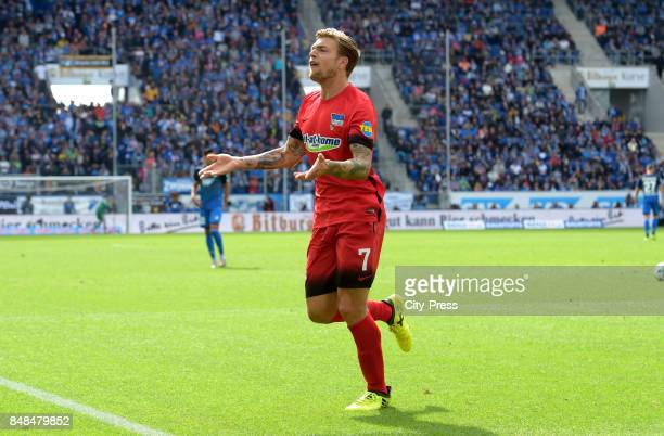 Alexander Esswein of Hertha BSC celebrates after scoring the 11 during the game between TSG Hoffenheim and Hertha BSC on september 17 2017 in...