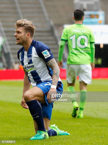 Alexander Esswein of Hertha BSC reacts during the Bundesliga match between Hertha BSC and VfL Wolfsburg at Olympiastadion on April 22 2017 in Berlin...