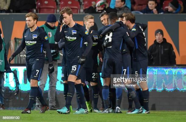 Alexander Esswein Sebastian Langkamp Mitchell Weiser Davie Selke Salomon Kalou and Niklas Stark of Hertha BSC celebrate after scoring the 11 during...
