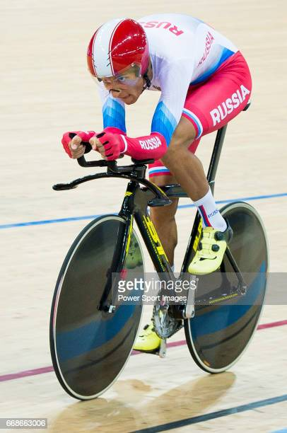 Alexander Evtushenko of the Russia team competes in the Men's Individual Pursuit Qualifying during 2017 UCI World Cycling on April 14 2017 in Hong...