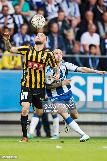 Alexander Faltsetas of BK Hacken and Elias Mar Omarsson of IFK Goteborg battles for the ball during the Allsvenskan match between IFK Goteborg and BK...