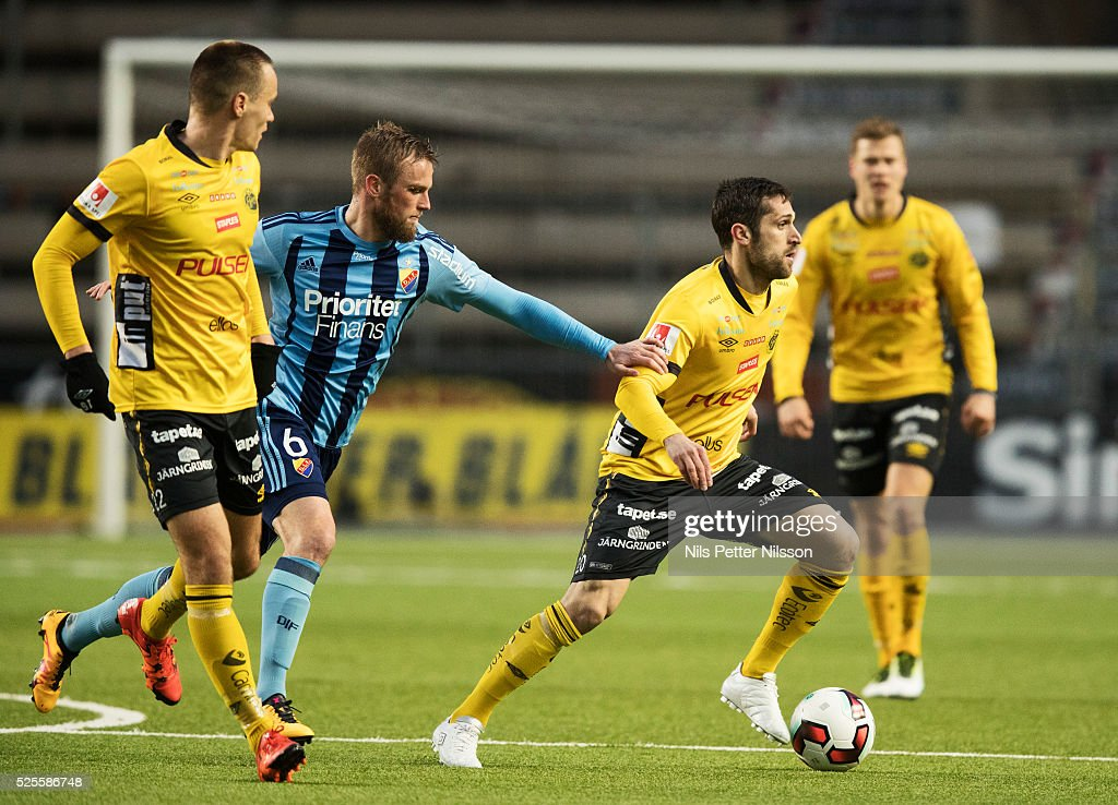 Alexander Faltsetas of Djurgardens IF and Emir Barjrami of IF Elfsborg competes for the ball during the Allsvenskan match between IF Elfsborg and Djurgardens IF at Boras Arena on April 28, 2016 in Boras, Sweden.