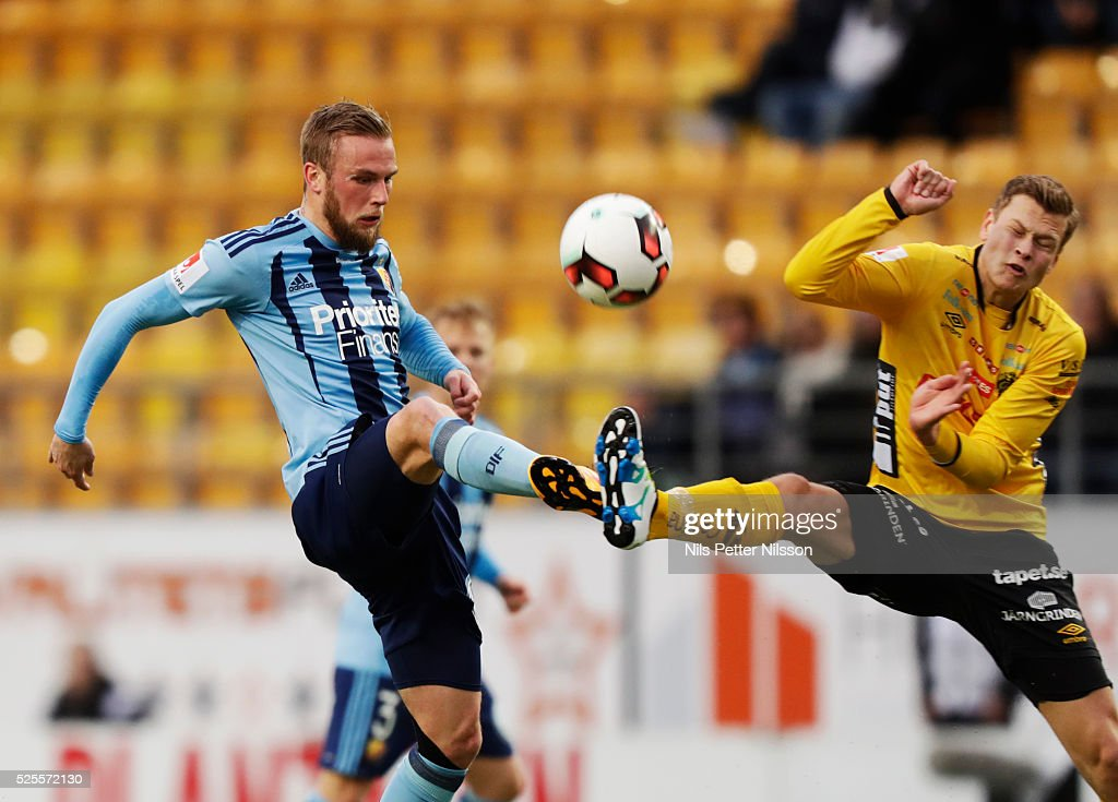 Alexander Faltsetas of Djurgardens IF and Viktor Claesson of IF Elfsborg competes for the ball during the Allsvenskan match between IF Elfsborg and Djurgardens IF at Boras Arena on April 28, 2016 in Boras, Sweden.