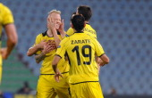 Alexander Farnerud of BSC Young Boys celebrates with teammates after scoring his team's second goal during the UEFA Europa League Group A match...