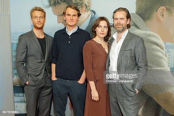 Alexander Fehling Fabian Hinrichs Antje Traue and Matthias Matschke attends the film premiere 'Der Fall Barschel' at Astor Film Lounge on January 28...