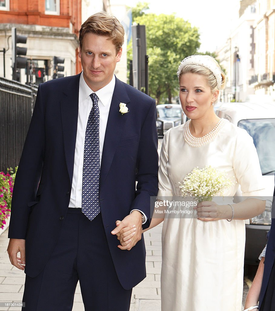 Alexander Fellowes and Alexandra Finlay arrive at Claridges Hotel for their wedding reception following their wedding ceremony at the Chapel of St Mary Undercroft in the Palace of Westminster on September 20, 2013 in London, England.