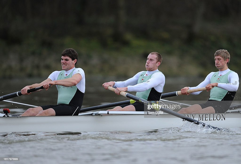 Alexander Fleming (Stroke), George Nash and Niles Garratt of The Cambridge team in action during the training race against University of Washington on the River Thames on February 16, 2013 in London, England.