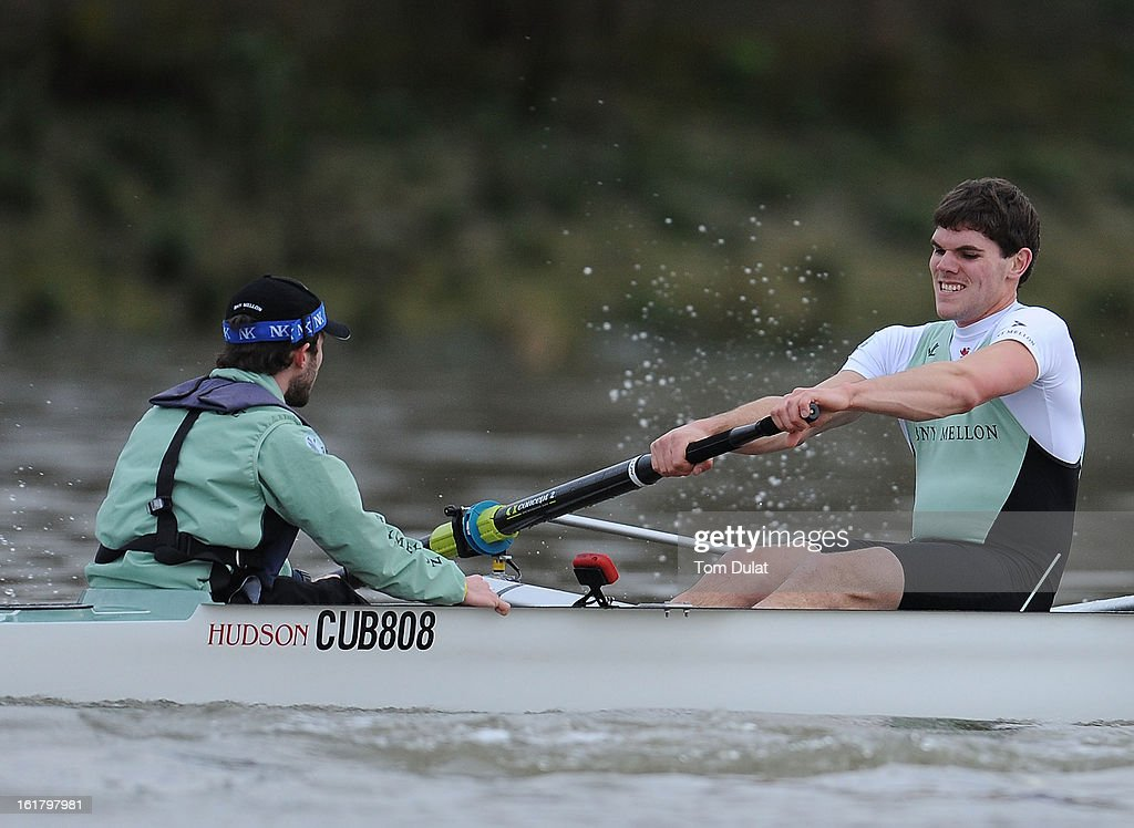 Alexander Fleming (Stroke) of The Cambridge team in action during the training race against University of Washington on the River Thames on February 16, 2013 in London, England.