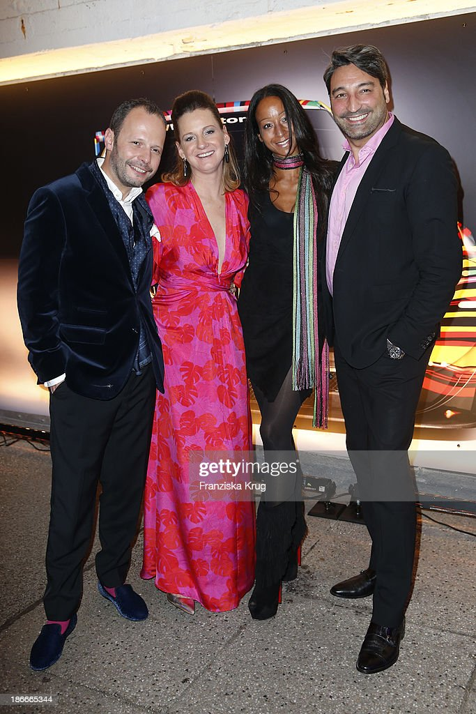 Alexander Franke, Jenny Falckenberg, Mousse T.. and Sascha Forste attend the Dom Perignon Balloon Venus by Jeff Koons at Alsterhaus on November 02, 2013 in Hamburg, Germany.