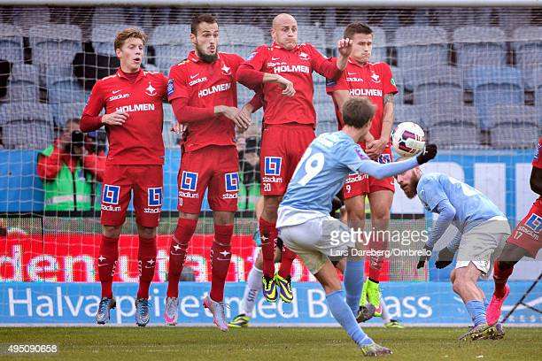 Alexander Fransson Emir Kujovic Daniel Sjslund and Arnor Ingvi Traustason lines up for a wall when Magnus Wolff Eikrem takes a freekick during the...