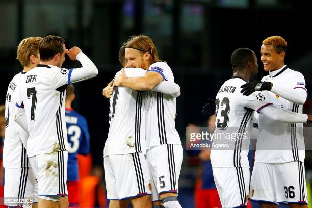 Alexander Fransson Luca Zuffi Eder Balanta Michael Lang and Manuel Akanji of Basel celebrate after the UEFA Champions League Group A soccer match...