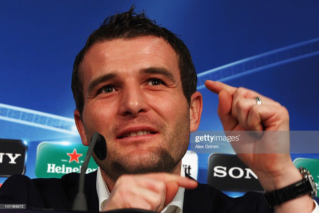 <a gi-track='captionPersonalityLinkClicked' href=/galleries/search?phrase=Alexander+Frei&family=editorial&specificpeople=534543 ng-click='$event.stopPropagation()'>Alexander Frei</a> attends a FC Basel press conference ahead of their UEFA Champions League Round of 16 second leg match against FC Bayern Muenchen at Allianz Arena on March 12, 2012 in Munich, Germany.