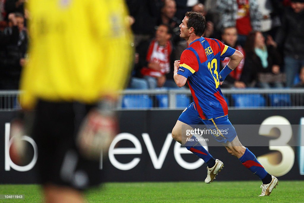 <a gi-track='captionPersonalityLinkClicked' href=/galleries/search?phrase=Alexander+Frei&family=editorial&specificpeople=534543 ng-click='$event.stopPropagation()'>Alexander Frei</a> of Basel celebrates his team's first goal during the UEFA Champions League group E match between FC Basel and FC Bayern Muenchen at the St. Jakob Park stadium on September 28, 2010 in Basel, Switzerland.