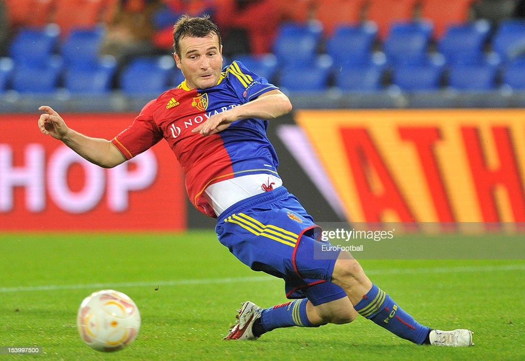 <a gi-track='captionPersonalityLinkClicked' href=/galleries/search?phrase=Alexander+Frei&family=editorial&specificpeople=534543 ng-click='$event.stopPropagation()'>Alexander Frei</a> of FC Basel 1893 in action during the UEFA Europa League group stage match between FC Basel 1893 and KRC Genk held on October 4, 2012 at the St. Jakob-Park in Basel, Switzerland.