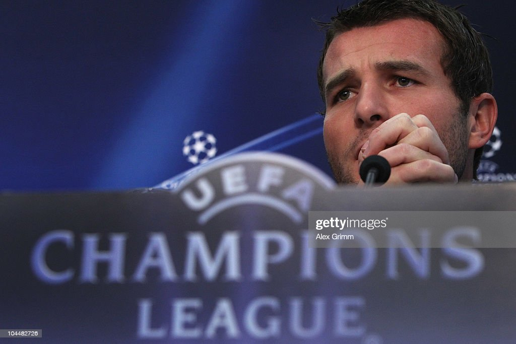 <a gi-track='captionPersonalityLinkClicked' href=/galleries/search?phrase=Alexander+Frei&family=editorial&specificpeople=534543 ng-click='$event.stopPropagation()'>Alexander Frei</a> pauses during the press conference of FC Basel at the St. Jakob Park stadium ahead of their Champions League first round match against Bayern Muenchen on September 27, 2010 in Basel, Switzerland.