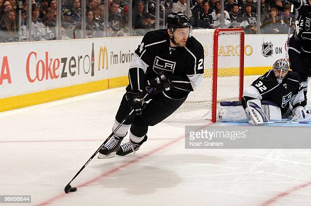 Alexander Frolov of the Los Angeles Kings skates with the puck against the Vancouver Canucks in Game Six of the Western Conference Quarterfinals...