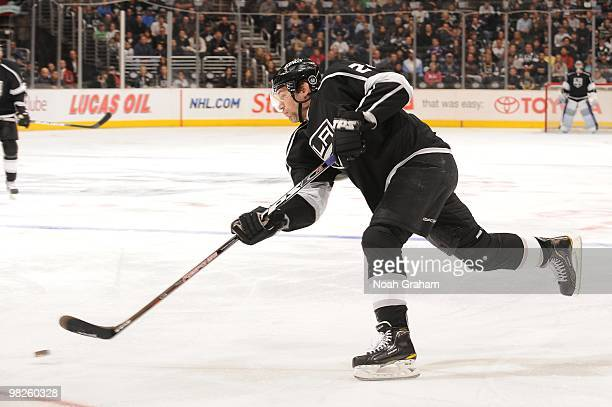 Alexander Frolov of the Los Angeles Kings takes a shot against the Dallas Stars on March 27 2010 at Staples Center in Los Angeles California