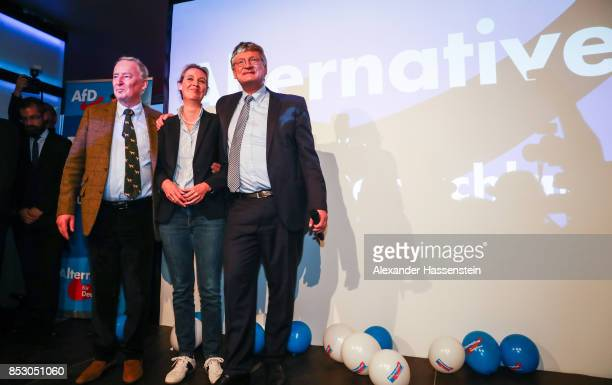 Alexander Gauland Alice Weidel coleads candidate of the Alternative for Germany and Joerg Meuthen celebrate the initial results that give the party...