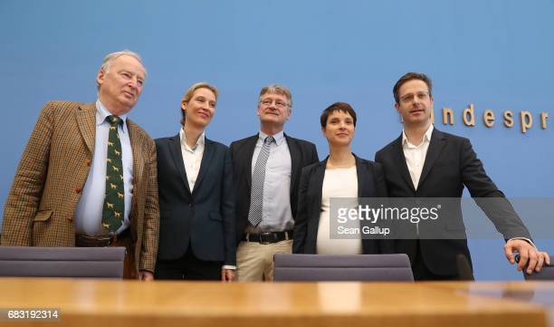 Alexander Gauland Alice Weidel Joerg Meuthen Frauke Petry and Marcus Pretzell who are leading members of the populist Alternative for Germany...