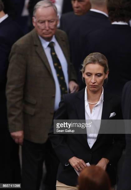 Alexander Gauland and Alice Weidel of the rightwing Alternative for Germany attend the opening session of the new Bundestag on October 24 2017 in...