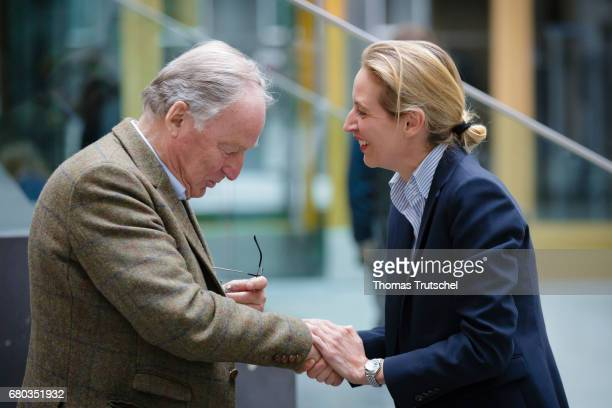 Alexander Gauland campaign leader of Germany's rightwing populist Alternative for Germany party shakes hands Alice Weidel campaign leader of...