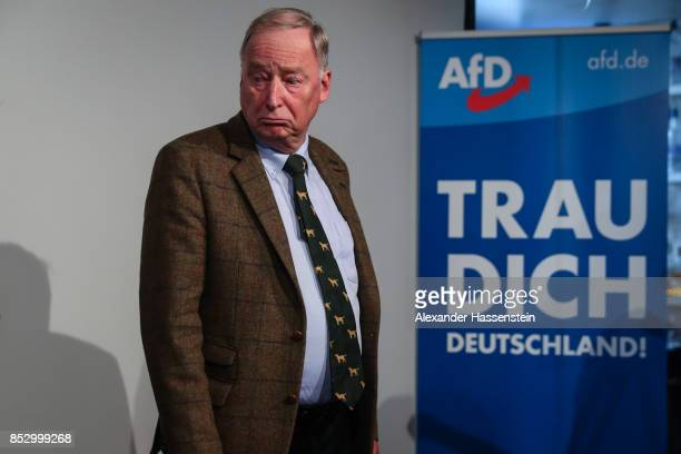 Alexander Gauland colead candidate of the Alternative for Germany gestures at the political party during the federal elections of Germany on...