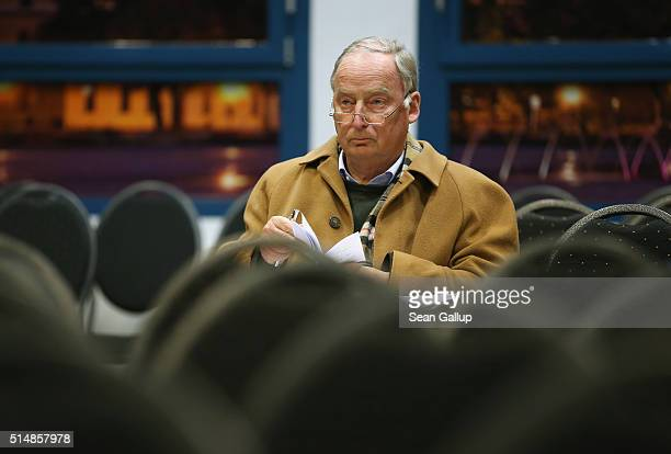 Alexander Gauland head of the Alternative fuer Deutschland political party in the state of Brandenburg arrives for the concluding AfD election rally...