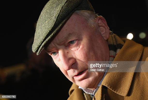 Alexander Gauland head of the rightwing AfD political party in the state of Brandenburg speaks to reporters during an AfD vigil near the Chancellery...