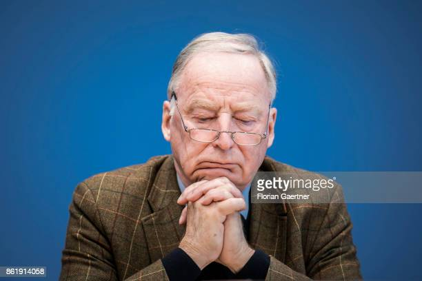 Alexander Gauland leader of the AfD Bundestag faction is pictured during a press conference on October 16 2017 in Berlin Germany
