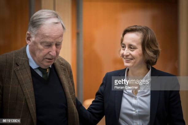 Alexander Gauland leader of the AfD Bundestag faction talks before the press conference about the election in Lower Saxony with Beatrix von Storch...