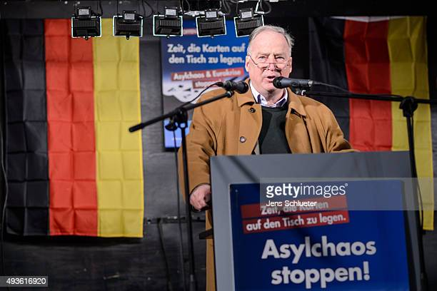 Alexander Gauland leading member of the AfD political party speaks to supporters at an AfD rally on October 21 2015 in Halle Germany The AfD which...