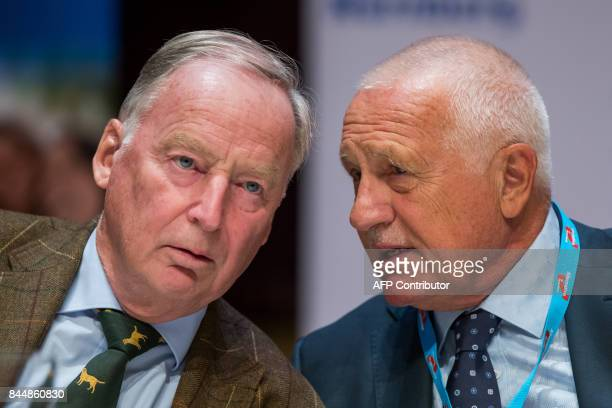Alexander Gauland top candidate of Germany's antiIslam antiimmigration AfD party for upcoming general elections talks with former Czech President...